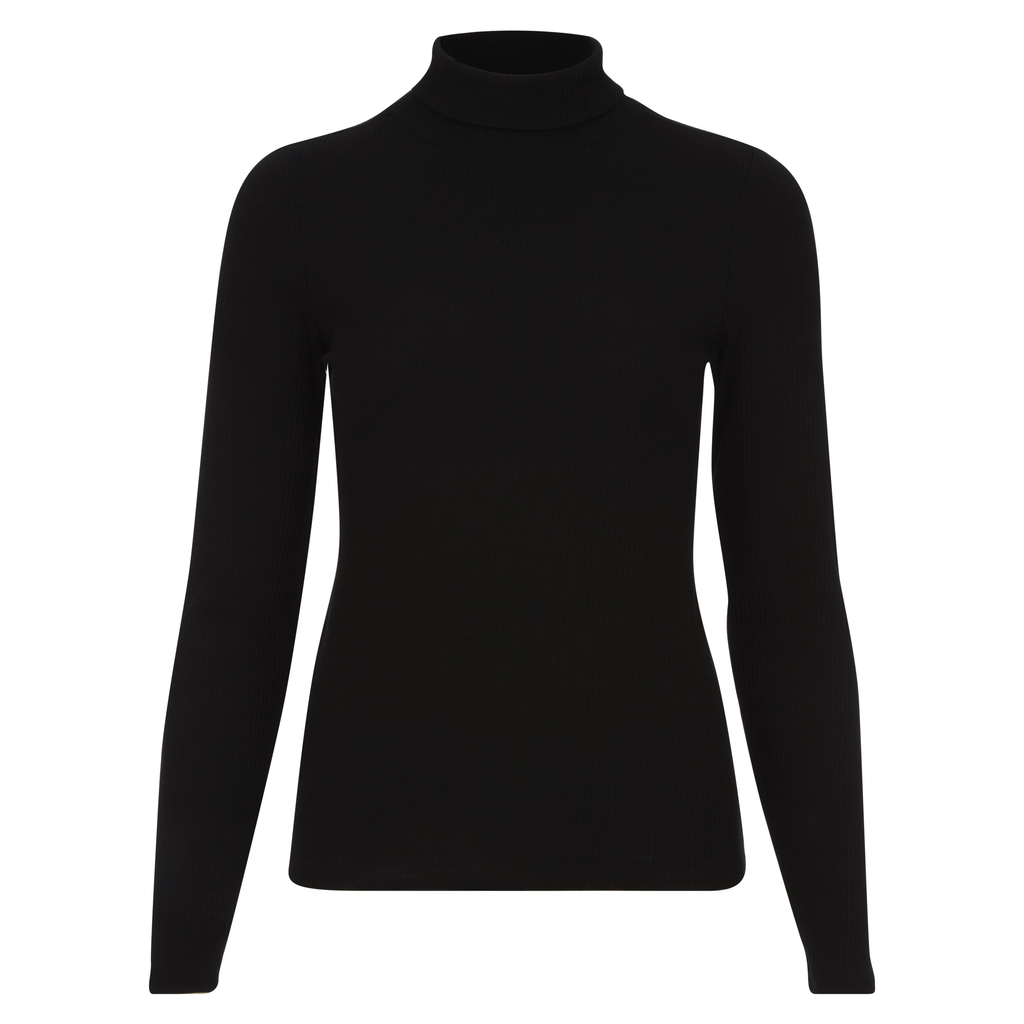 Ribbed Roll Neck Top - pattern: plain; neckline: roll neck; style: standard; predominant colour: black; occasions: casual, work, creative work; length: standard; fibres: cotton - stretch; fit: standard fit; sleeve length: long sleeve; sleeve style: standard; texture group: knits/crochet; pattern type: knitted - fine stitch; wardrobe: basic; season: a/w 2016