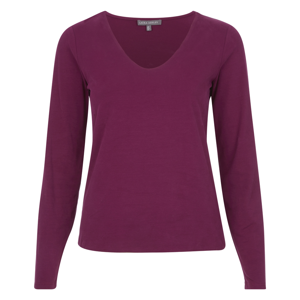 Double Front V Neck Top - neckline: v-neck; pattern: plain; predominant colour: purple; occasions: casual, work, creative work; length: standard; style: top; fibres: viscose/rayon - stretch; fit: body skimming; sleeve length: long sleeve; sleeve style: standard; pattern type: fabric; texture group: jersey - stretchy/drapey; season: a/w 2016; wardrobe: highlight