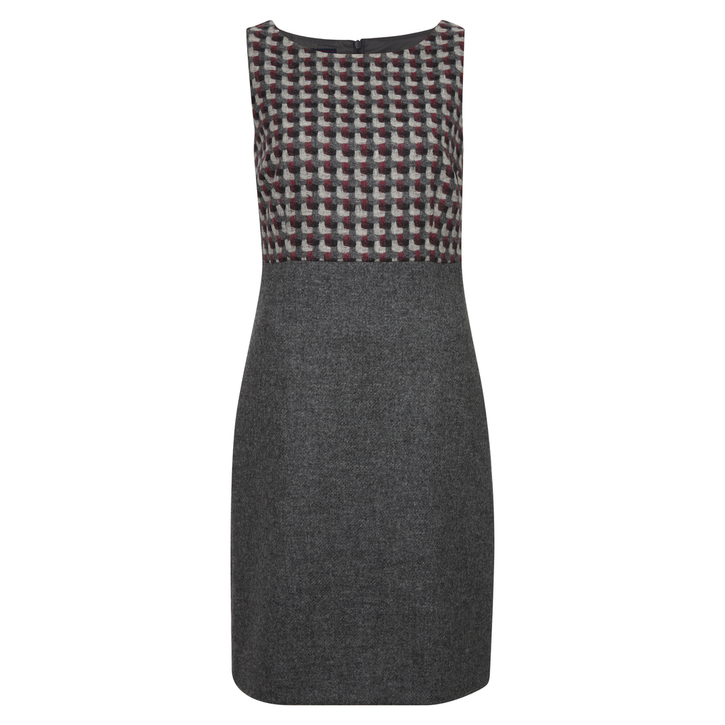 Moon British Wool Tweed Panel Shift Dress - style: shift; neckline: round neck; fit: tailored/fitted; sleeve style: sleeveless; predominant colour: charcoal; secondary colour: light grey; occasions: work; length: on the knee; fibres: wool - 100%; sleeve length: sleeveless; pattern type: fabric; pattern: patterned/print; texture group: tweed - light/midweight; multicoloured: multicoloured; season: a/w 2016; wardrobe: highlight