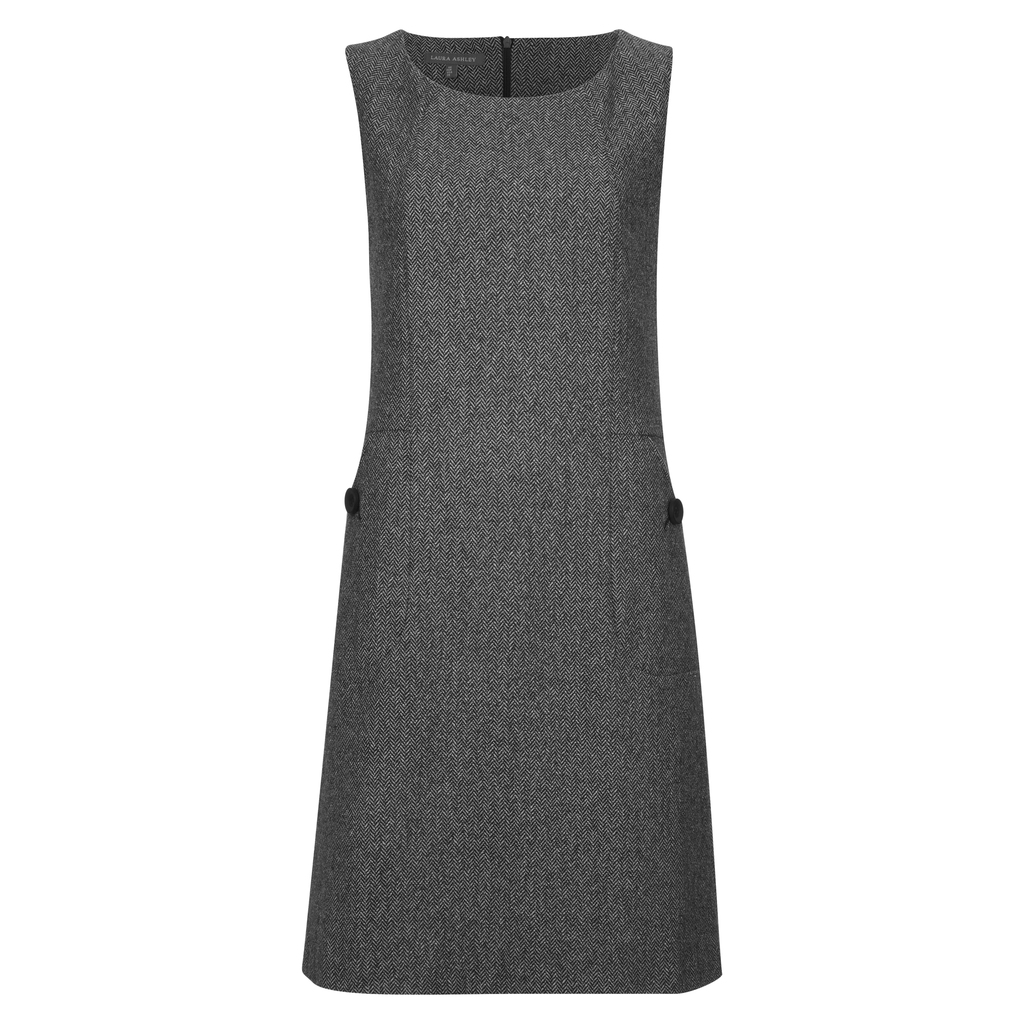 Sleeveless Herringbone Shift Dress - style: shift; neckline: round neck; fit: tailored/fitted; pattern: plain; sleeve style: sleeveless; predominant colour: charcoal; occasions: work; length: on the knee; fibres: wool - mix; sleeve length: sleeveless; pattern type: fabric; texture group: other - light to midweight; season: a/w 2016