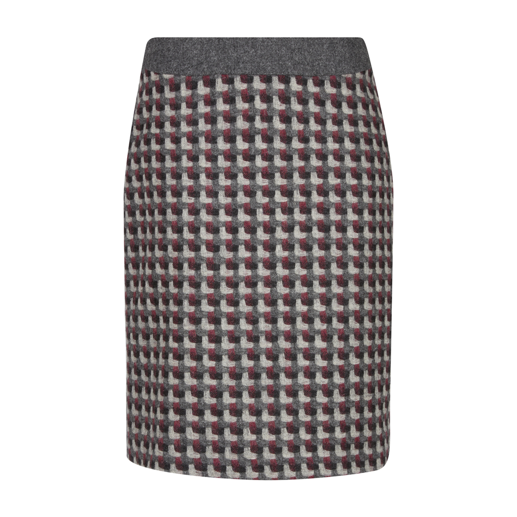 Moon British Wool Tweed A Line Skirt - style: pencil; fit: body skimming; waist: mid/regular rise; secondary colour: hot pink; predominant colour: mid grey; occasions: casual, creative work; length: just above the knee; fibres: wool - 100%; texture group: knits/crochet; pattern type: knitted - fine stitch; pattern: patterned/print; multicoloured: multicoloured; season: a/w 2016