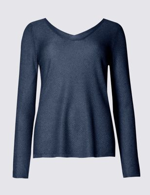 Long Sleeve V Neck Jumper - neckline: v-neck; pattern: plain; style: standard; predominant colour: navy; occasions: casual, creative work; length: standard; fit: standard fit; sleeve length: long sleeve; sleeve style: standard; texture group: knits/crochet; pattern type: knitted - fine stitch; fibres: viscose/rayon - mix; wardrobe: basic; season: a/w 2016