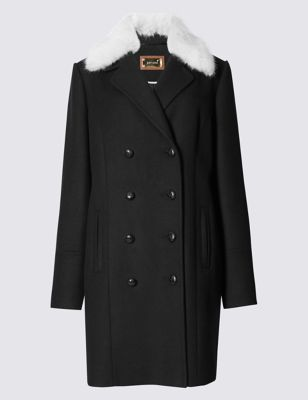 Textured Peacoat With Wool - style: double breasted; length: mid thigh; secondary colour: white; predominant colour: black; occasions: casual, creative work; fit: straight cut (boxy); fibres: wool - mix; sleeve length: long sleeve; sleeve style: standard; collar: fur; collar break: medium; pattern type: fabric; pattern size: standard; pattern: colourblock; texture group: woven light midweight; embellishment: fur; season: a/w 2016