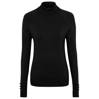Polo Neck Jumper Black - pattern: plain; neckline: roll neck; style: standard; predominant colour: black; occasions: casual; length: standard; fit: standard fit; sleeve length: long sleeve; sleeve style: standard; texture group: knits/crochet; pattern type: knitted - other; fibres: viscose/rayon - mix; wardrobe: basic; season: a/w 2016