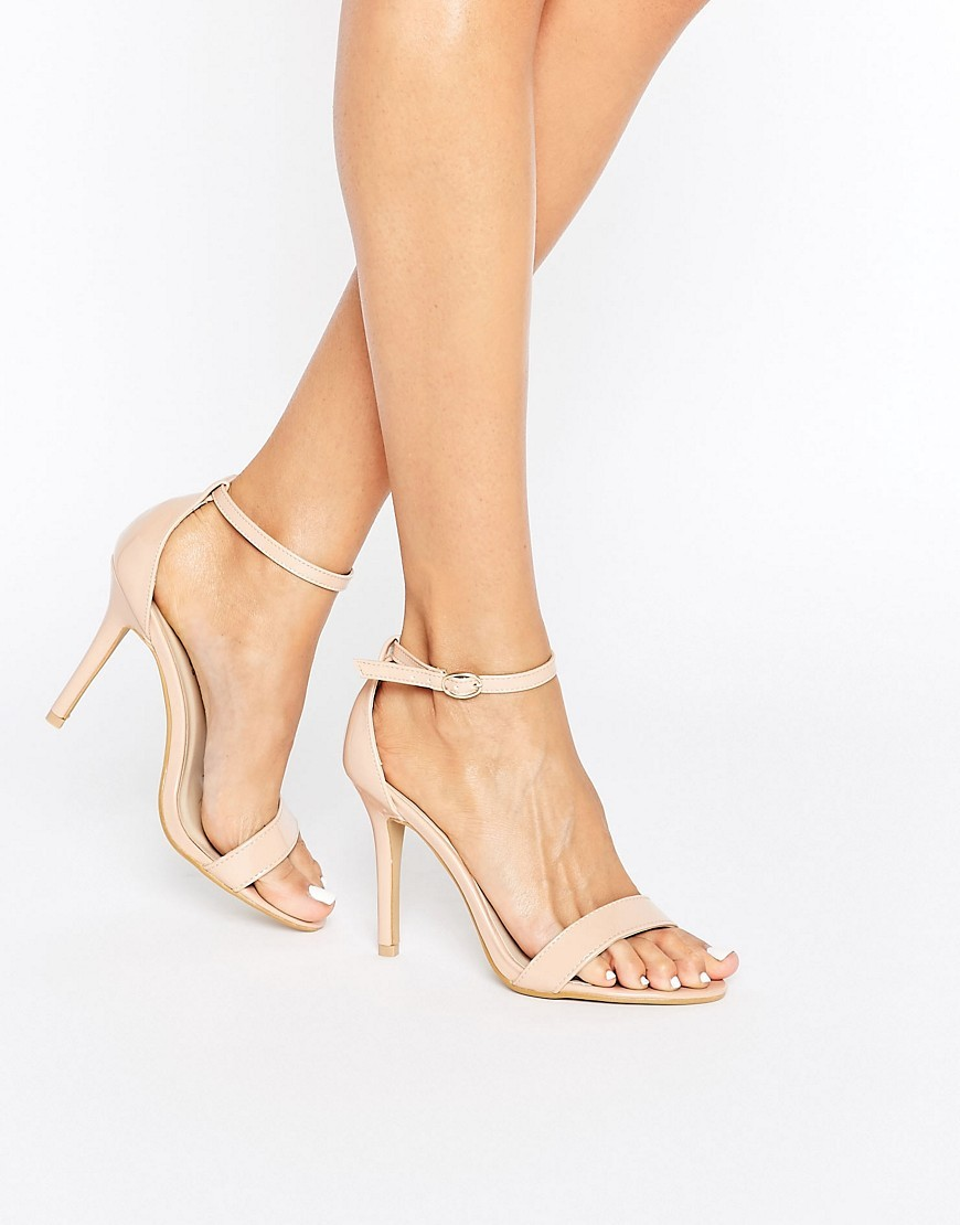 Nude Patent Two Part Heeled Sandals Nude Patent - predominant colour: blush; occasions: evening, occasion; material: faux leather; heel height: high; ankle detail: ankle strap; heel: stiletto; toe: open toe/peeptoe; style: strappy; finish: plain; pattern: plain; season: a/w 2016; wardrobe: event