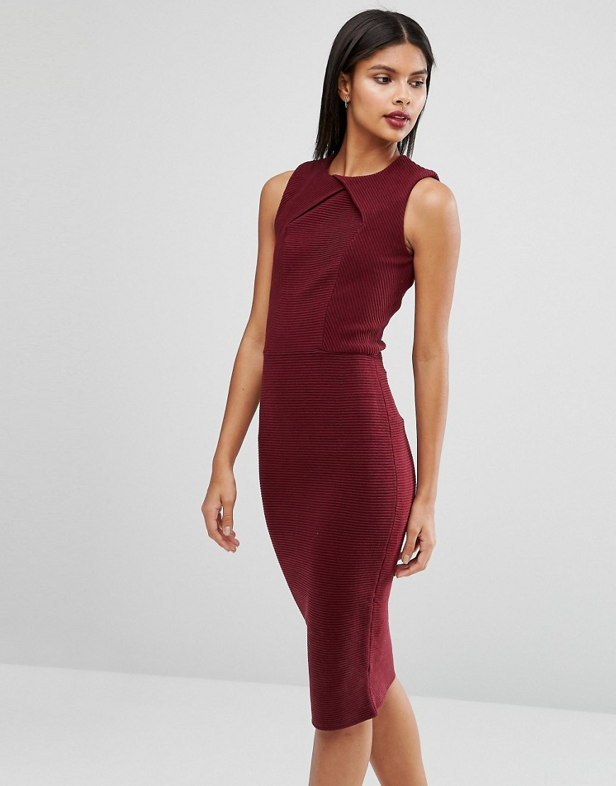 Tarala Bodycon Knitted Midi Dress Red - fit: tight; pattern: plain; sleeve style: sleeveless; style: bodycon; predominant colour: burgundy; occasions: evening; length: on the knee; fibres: acrylic - mix; neckline: crew; sleeve length: sleeveless; texture group: knits/crochet; pattern type: knitted - other; season: a/w 2016; wardrobe: event