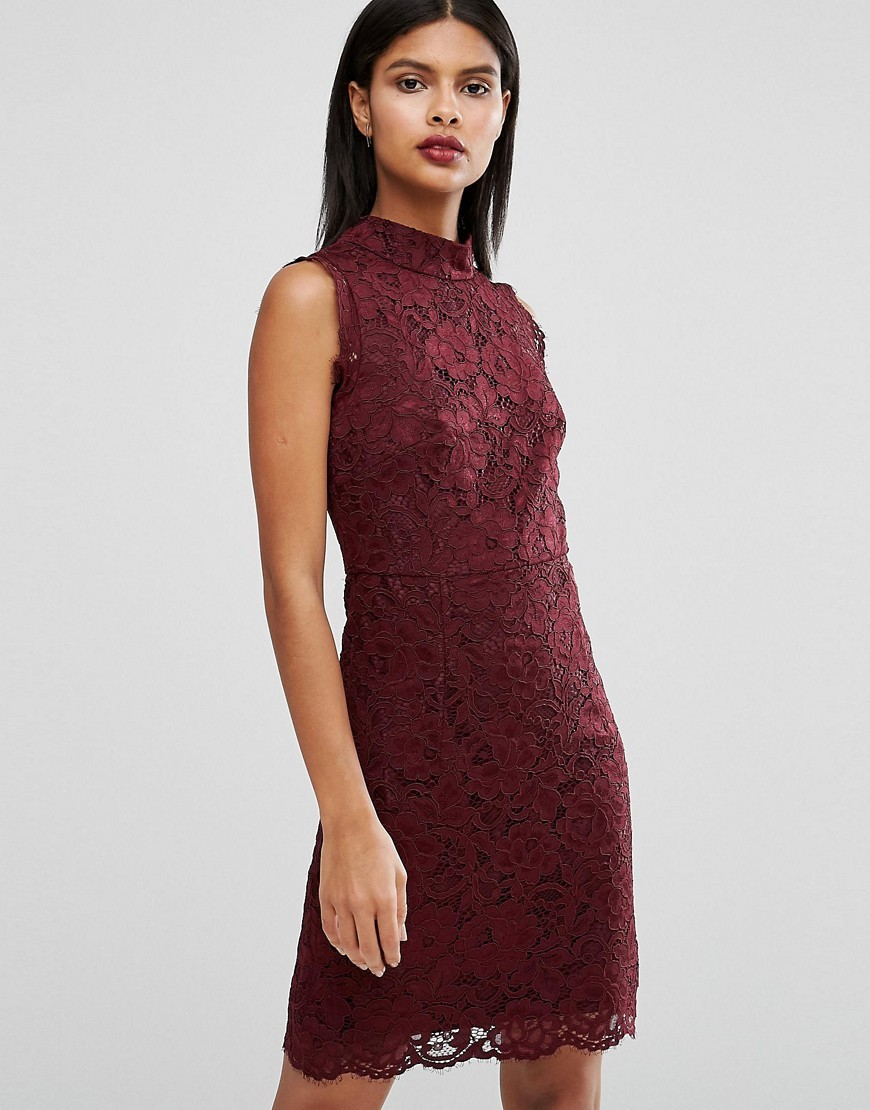 Latoya High Neck Mini Dress In Lace Red - style: shift; sleeve style: sleeveless; neckline: high neck; predominant colour: burgundy; occasions: evening; length: just above the knee; fit: body skimming; fibres: polyester/polyamide - mix; sleeve length: sleeveless; texture group: lace; pattern type: fabric; pattern: patterned/print; season: a/w 2016; wardrobe: event