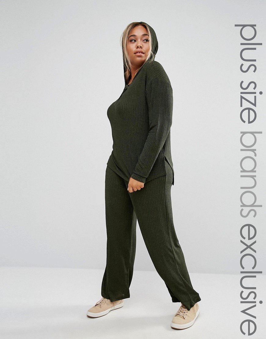 Ribbed Slouchy Wide Leg Trousers Khaki - length: standard; pattern: plain; waist: mid/regular rise; predominant colour: khaki; occasions: casual; fibres: polyester/polyamide - stretch; fit: baggy; pattern type: fabric; texture group: jersey - stretchy/drapey; style: standard; wardrobe: basic; season: a/w 2016
