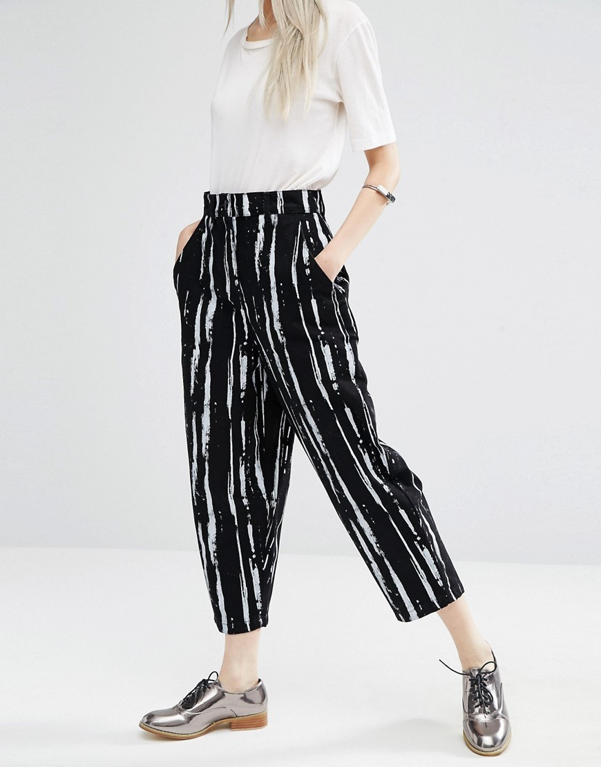 Ovoid Jeans In Paint Stripe Print Multi - waist: high rise; style: tapered; secondary colour: white; predominant colour: black; occasions: casual, creative work; length: ankle length; fibres: cotton - stretch; texture group: denim; pattern type: fabric; pattern: patterned/print; season: a/w 2016; wardrobe: highlight