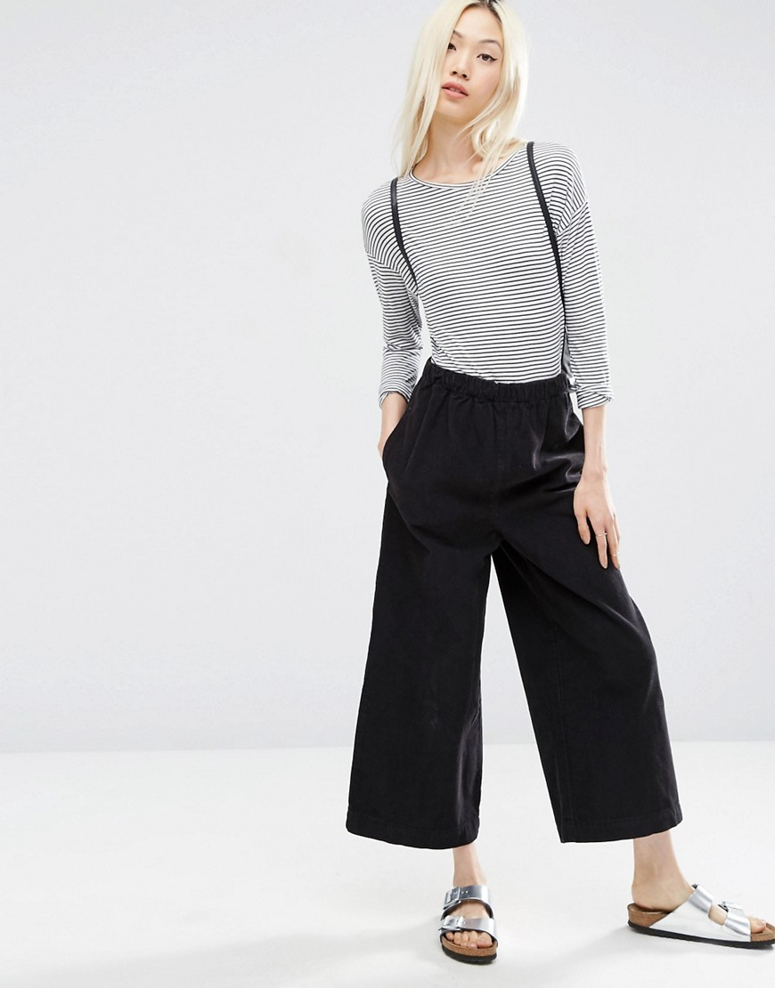 Pull On Wide Leg Trousers In Charcoal Cord Charcoal - pattern: plain; waist: mid/regular rise; predominant colour: charcoal; occasions: casual; length: ankle length; fibres: cotton - 100%; texture group: corduroy; fit: wide leg; pattern type: fabric; style: standard; wardrobe: basic; season: a/w 2016