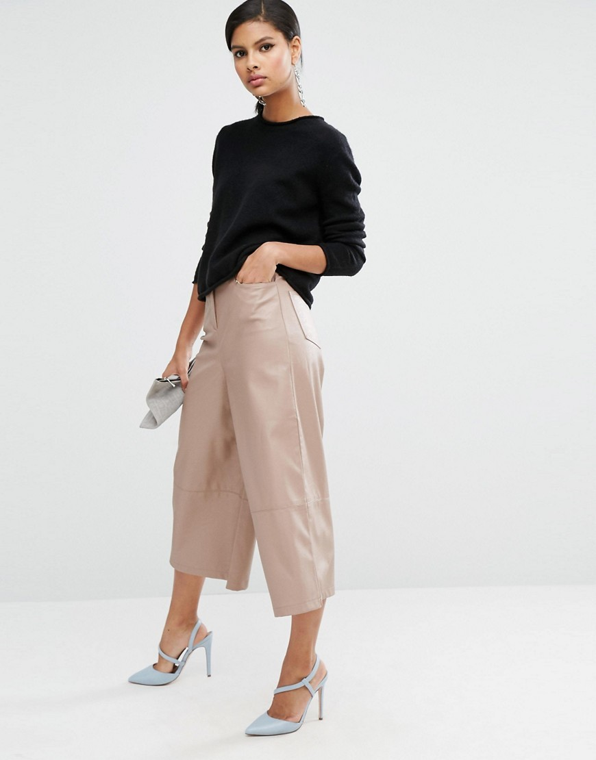 Premium Leather Look Culottes Neutral - pattern: plain; waist: mid/regular rise; predominant colour: stone; occasions: evening, creative work; length: calf length; fit: wide leg; pattern type: fabric; texture group: woven light midweight; style: standard; fibres: viscose/rayon - mix; wardrobe: basic; season: a/w 2016