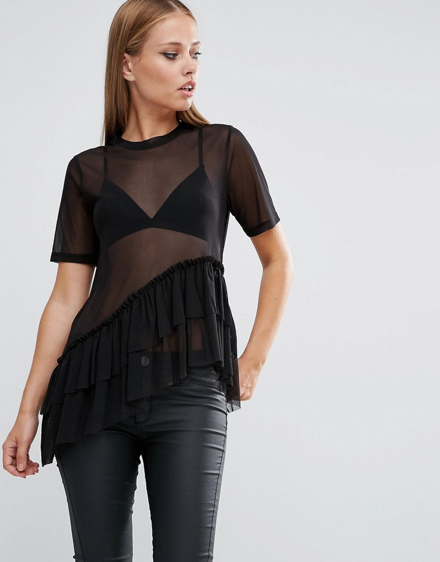Top With Layered Ruffle Hem In Mesh Black - pattern: plain; style: t-shirt; predominant colour: black; occasions: evening, creative work; length: standard; fibres: polyester/polyamide - 100%; fit: loose; neckline: crew; sleeve length: short sleeve; sleeve style: standard; texture group: sheer fabrics/chiffon/organza etc.; pattern type: fabric; wardrobe: basic; season: a/w 2016