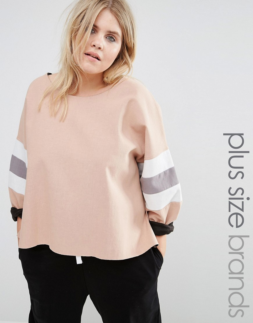 Colour Block Sleeve Sweatshirt Beige - neckline: round neck; sleeve style: dolman/batwing; style: sweat top; secondary colour: white; predominant colour: blush; occasions: casual; length: standard; fibres: polyester/polyamide - stretch; fit: loose; sleeve length: long sleeve; pattern type: fabric; pattern: colourblock; texture group: jersey - stretchy/drapey; multicoloured: multicoloured; season: a/w 2016; wardrobe: highlight