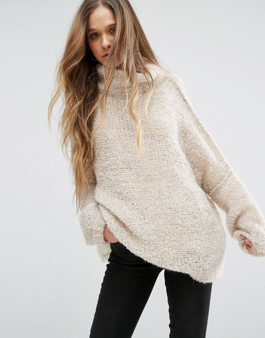 Pullover Sweater Cream - pattern: plain; length: below the bottom; neckline: roll neck; style: standard; predominant colour: ivory/cream; occasions: casual; fibres: wool - mix; fit: loose; sleeve length: long sleeve; sleeve style: standard; texture group: knits/crochet; pattern type: fabric; season: a/w 2016