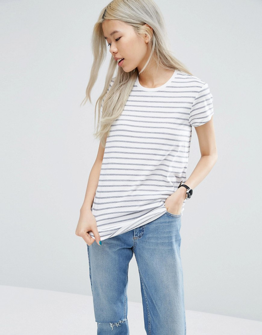 Crew Neck T Shirt In Stripe White/Navy - pattern: horizontal stripes; style: t-shirt; predominant colour: white; secondary colour: light grey; occasions: casual; length: standard; fibres: cotton - mix; fit: body skimming; neckline: crew; sleeve length: short sleeve; sleeve style: standard; pattern type: fabric; texture group: jersey - stretchy/drapey; multicoloured: multicoloured; wardrobe: basic; season: a/w 2016