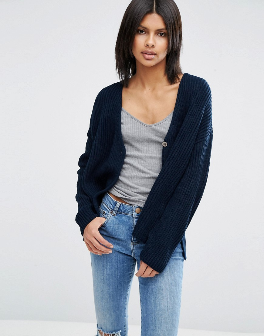 Cardigan In Double Breasted Shape Navy - neckline: v-neck; pattern: plain; length: below the bottom; predominant colour: navy; occasions: casual, creative work; style: standard; fibres: acrylic - 100%; fit: loose; sleeve length: long sleeve; sleeve style: standard; texture group: knits/crochet; pattern type: knitted - big stitch; wardrobe: basic; season: a/w 2016