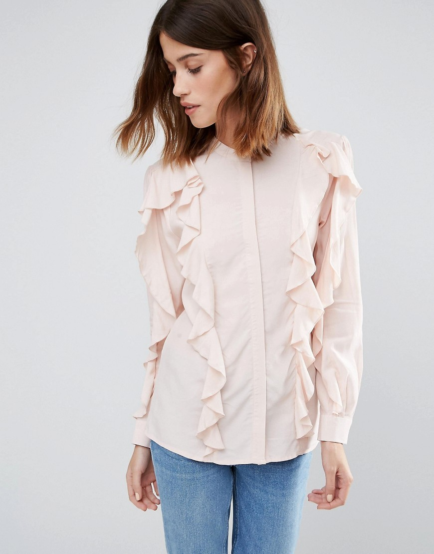 Ruffle Blouse Pink - pattern: plain; style: blouse; predominant colour: blush; occasions: casual, creative work; length: standard; neckline: collarstand; fibres: polyester/polyamide - 100%; fit: straight cut; sleeve length: long sleeve; sleeve style: standard; texture group: crepes; bust detail: bulky details at bust; pattern type: fabric; season: a/w 2016; wardrobe: highlight