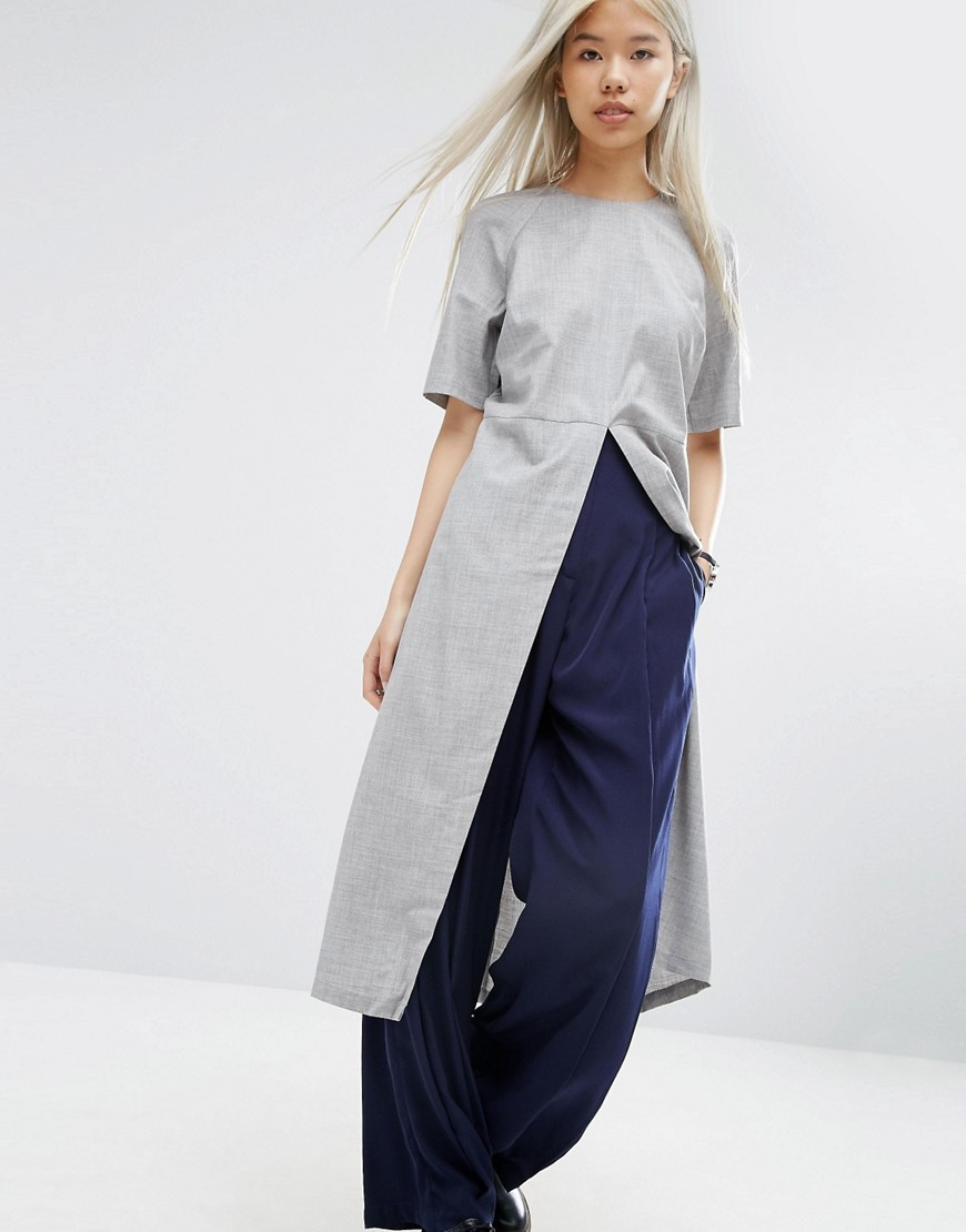 Longline Top With Split Front Grey - pattern: plain; length: below the bottom; style: t-shirt; predominant colour: light grey; occasions: casual, creative work; fibres: cotton - 100%; fit: straight cut; neckline: crew; hip detail: slits at hip; sleeve length: short sleeve; sleeve style: standard; texture group: cotton feel fabrics; pattern type: fabric; season: a/w 2016