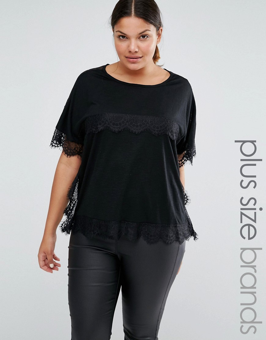Lace Trim Short Sleeve Tee Black - neckline: round neck; pattern: plain; predominant colour: black; occasions: casual, evening, creative work; length: standard; style: top; fibres: polyester/polyamide - mix; fit: loose; sleeve length: short sleeve; sleeve style: standard; texture group: sheer fabrics/chiffon/organza etc.; pattern type: fabric; embellishment: lace; season: a/w 2016; wardrobe: highlight; embellishment location: bust