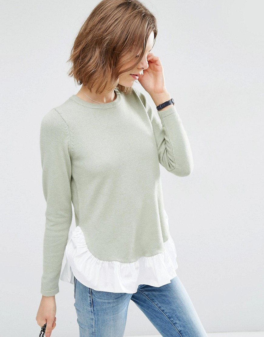 Jumper With Woven Ruffle Hem Mint - pattern: plain; length: below the bottom; style: standard; secondary colour: white; predominant colour: pistachio; occasions: casual, creative work; fit: standard fit; neckline: crew; sleeve length: long sleeve; sleeve style: standard; texture group: knits/crochet; pattern type: knitted - fine stitch; fibres: viscose/rayon - mix; season: a/w 2016; wardrobe: highlight