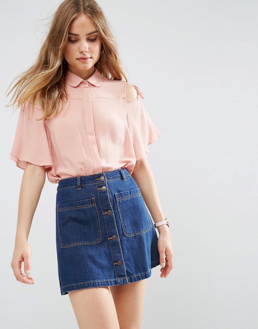 Casual Blouse With Tie Sleeve Pink - neckline: shirt collar/peter pan/zip with opening; pattern: plain; style: blouse; predominant colour: blush; occasions: casual; length: standard; fibres: viscose/rayon - 100%; fit: body skimming; sleeve length: half sleeve; sleeve style: standard; texture group: sheer fabrics/chiffon/organza etc.; pattern type: fabric; wardrobe: basic; season: a/w 2016