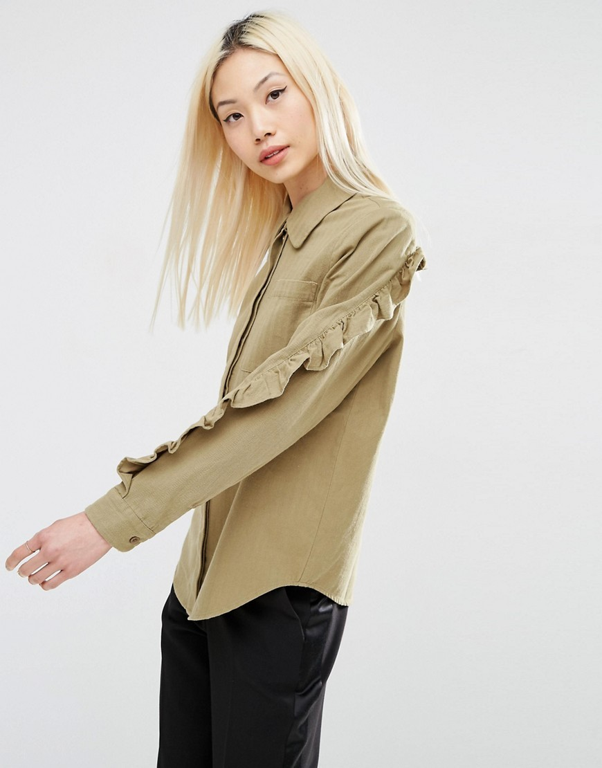 Casual Shirt With Ruffle Sleeve Khaki - neckline: shirt collar/peter pan/zip with opening; pattern: plain; style: shirt; predominant colour: khaki; occasions: casual; length: standard; fibres: cotton - 100%; fit: body skimming; shoulder detail: bulky shoulder detail; sleeve length: long sleeve; sleeve style: standard; texture group: cotton feel fabrics; pattern type: fabric; season: a/w 2016; wardrobe: highlight