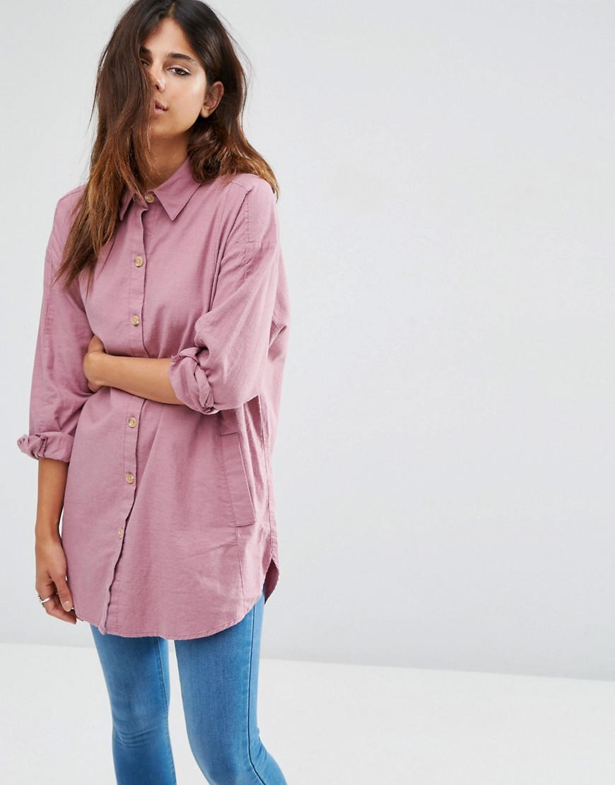 Soft Twill Oversized Shirt Burgundy - neckline: shirt collar/peter pan/zip with opening; pattern: plain; length: below the bottom; style: shirt; back detail: racer back/sports back; predominant colour: pink; occasions: casual; fibres: cotton - 100%; fit: body skimming; sleeve length: long sleeve; sleeve style: standard; texture group: cotton feel fabrics; pattern type: fabric; season: a/w 2016; wardrobe: highlight