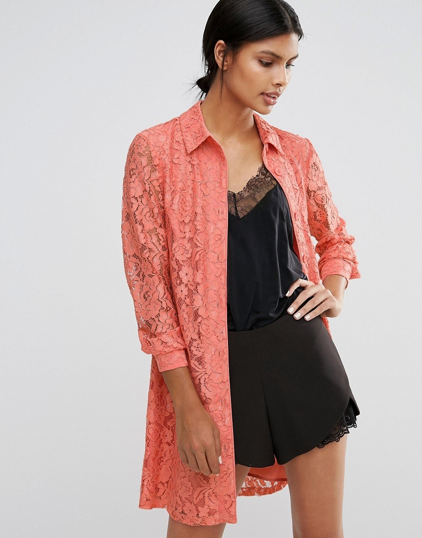 Lace Jacket Peach - fit: loose; length: below the bottom; predominant colour: coral; occasions: casual, creative work; fibres: polyester/polyamide - 100%; collar: shirt collar/peter pan/zip with opening; sleeve length: 3/4 length; sleeve style: standard; texture group: lace; collar break: low/open; pattern type: fabric; pattern size: standard; pattern: patterned/print; style: fluid/kimono; season: a/w 2016; wardrobe: highlight
