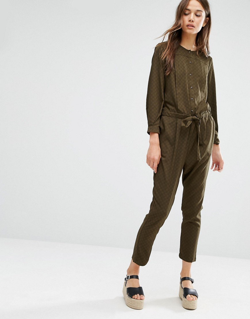 Pleat Jumpsuit Khaki - pattern: plain; waist detail: belted waist/tie at waist/drawstring; predominant colour: khaki; occasions: casual, evening; length: ankle length; fit: body skimming; neckline: crew; sleeve length: long sleeve; sleeve style: standard; style: jumpsuit; pattern type: fabric; texture group: woven light midweight; fibres: viscose/rayon - mix; season: a/w 2016; wardrobe: highlight
