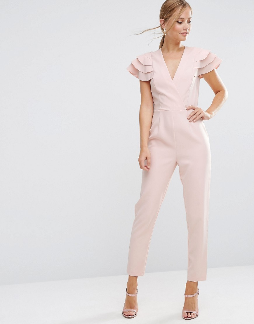 Wrap Jumpsuit With Frill Sleeve Dusty Pink - length: standard; neckline: v-neck; sleeve style: puffed; pattern: plain; predominant colour: blush; occasions: evening; fit: body skimming; fibres: polyester/polyamide - stretch; sleeve length: short sleeve; style: jumpsuit; pattern type: fabric; texture group: woven light midweight; season: a/w 2016; wardrobe: event