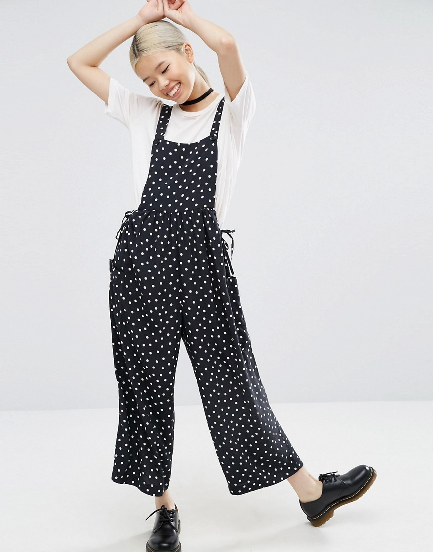 Dungaree In Spot Print Multi - sleeve style: standard vest straps/shoulder straps; fit: loose; pattern: polka dot; secondary colour: white; predominant colour: navy; occasions: casual; length: ankle length; fibres: viscose/rayon - 100%; sleeve length: sleeveless; style: dungarees; neckline: medium square neck; bust detail: dungaree top; pattern type: fabric; texture group: jersey - stretchy/drapey; multicoloured: multicoloured; season: a/w 2016; wardrobe: highlight