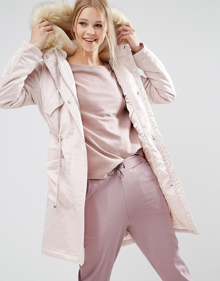 Parka In Satin Pink - pattern: plain; collar: funnel; fit: loose; style: parka; back detail: hood; length: mid thigh; predominant colour: pink; occasions: casual; fibres: polyester/polyamide - stretch; sleeve length: long sleeve; sleeve style: standard; texture group: technical outdoor fabrics; collar break: high; pattern type: fabric; embellishment: fur; season: a/w 2016; wardrobe: highlight