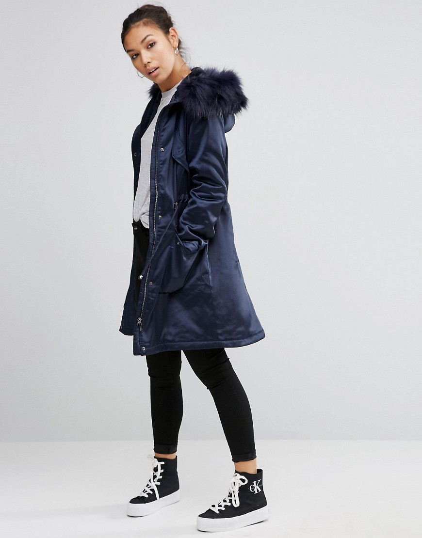 Luxe Parka In Satin Navy - pattern: plain; fit: loose; style: parka; length: on the knee; predominant colour: navy; occasions: casual; fibres: polyester/polyamide - stretch; sleeve length: long sleeve; sleeve style: standard; texture group: structured shiny - satin/tafetta/silk etc.; collar: fur; collar break: high; pattern type: fabric; embellishment: fur; season: a/w 2016; wardrobe: highlight; embellishment location: neck
