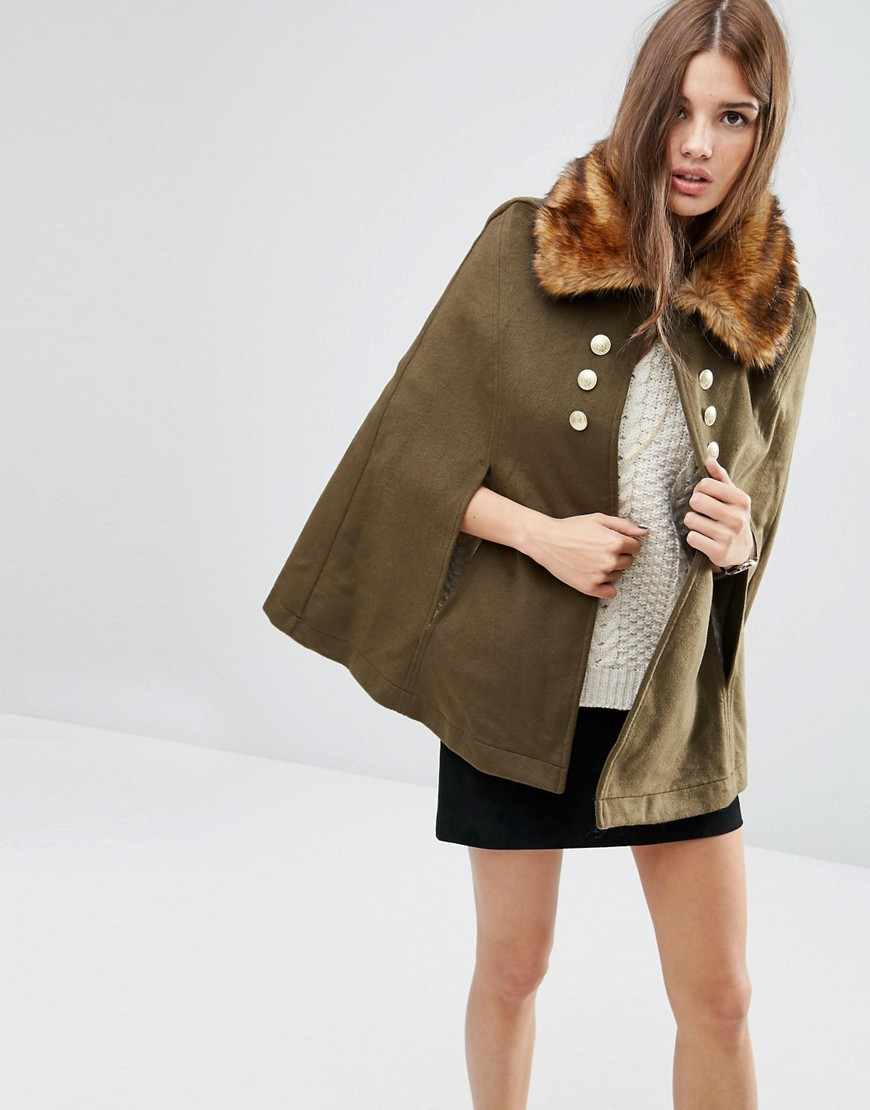 Military Cape With Faux Fur Collar Multi - pattern: plain; length: standard; fit: loose; style: cape; predominant colour: khaki; occasions: casual; fibres: polyester/polyamide - stretch; sleeve length: 3/4 length; collar: fur; collar break: high; pattern type: fabric; texture group: woven bulky/heavy; embellishment: fur; sleeve style: cape/poncho sleeve; season: a/w 2016; wardrobe: highlight