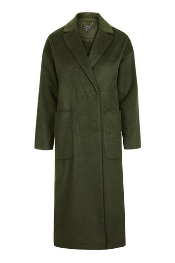 Longline Slouch Coat - pattern: plain; style: single breasted; fit: slim fit; collar: standard lapel/rever collar; length: calf length; predominant colour: dark green; occasions: casual; fibres: polyester/polyamide - mix; sleeve length: long sleeve; sleeve style: standard; collar break: medium; pattern type: fabric; texture group: woven bulky/heavy; trends: chic girl, tomboy girl, oversized outerwear; season: a/w 2016; wardrobe: highlight