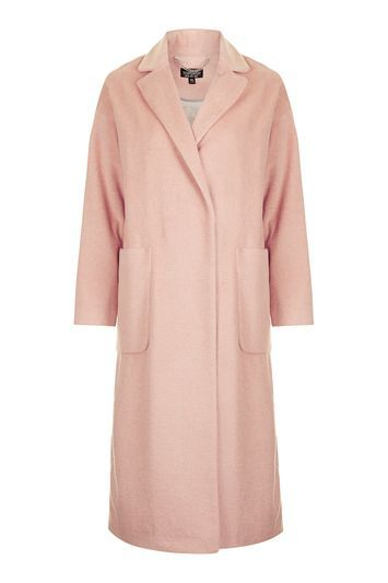 Longline Slouch Coat - pattern: plain; style: single breasted; fit: slim fit; collar: standard lapel/rever collar; length: calf length; predominant colour: pink; occasions: casual; fibres: polyester/polyamide - stretch; sleeve length: long sleeve; sleeve style: standard; collar break: medium; pattern type: fabric; texture group: woven bulky/heavy; trends: chic girl, oversized outerwear; season: a/w 2016; wardrobe: highlight
