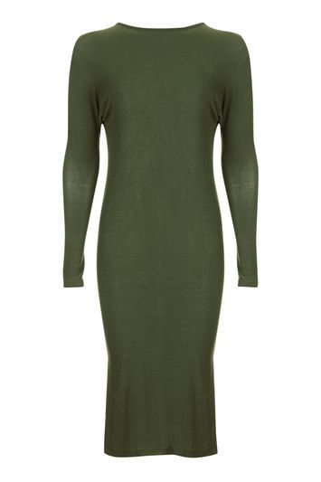 Knot Back Batwing Midi Dress - style: t-shirt; pattern: plain; hip detail: draws attention to hips; predominant colour: dark green; occasions: casual, creative work; length: on the knee; fit: body skimming; fibres: cotton - stretch; neckline: crew; sleeve length: long sleeve; sleeve style: standard; texture group: jersey - clingy; pattern type: fabric; trends: chic girl, tomboy girl; season: a/w 2016; wardrobe: highlight