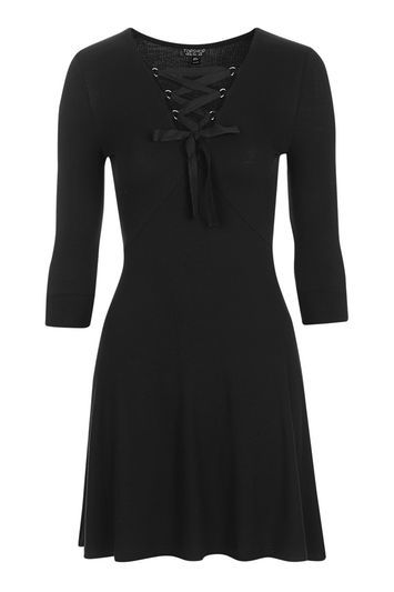 Petite Lace Up Flippy Dress - neckline: v-neck; pattern: plain; predominant colour: black; occasions: casual, creative work; length: just above the knee; fit: fitted at waist & bust; style: fit & flare; fibres: viscose/rayon - stretch; sleeve length: 3/4 length; sleeve style: standard; pattern type: fabric; texture group: jersey - stretchy/drapey; trends: pretty girl, rebel girl; wardrobe: basic; season: a/w 2016