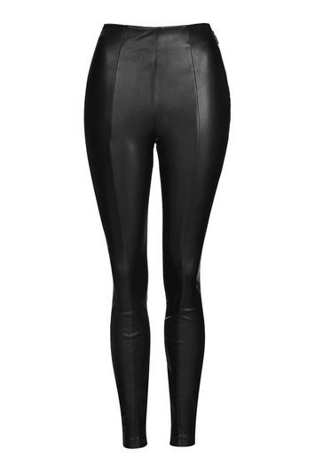 Petite Stretched Seam Trousers - length: standard; pattern: plain; waist: high rise; predominant colour: black; occasions: evening, creative work; fibres: polyester/polyamide - 100%; texture group: leather; fit: skinny/tight leg; pattern type: fabric; style: standard; season: a/w 2016; wardrobe: highlight