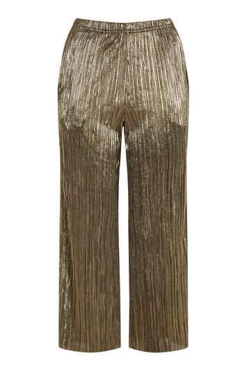 Petite Metallic Trousers - pattern: plain; waist detail: elasticated waist; waist: high rise; predominant colour: champagne; occasions: evening; length: calf length; fibres: polyester/polyamide - stretch; texture group: silky - light; fit: wide leg; pattern type: fabric; style: standard; season: a/w 2016