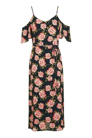 Tall Romantic Bloom Midi Dress - style: shift; length: calf length; neckline: low v-neck; waist detail: belted waist/tie at waist/drawstring; secondary colour: pink; predominant colour: black; occasions: casual, evening, creative work; fit: body skimming; fibres: viscose/rayon - 100%; shoulder detail: cut out shoulder; sleeve length: short sleeve; sleeve style: standard; pattern type: fabric; pattern: florals; texture group: jersey - stretchy/drapey; multicoloured: multicoloured; trends: fashion girl, pretty girl; season: a/w 2016; wardrobe: highlight