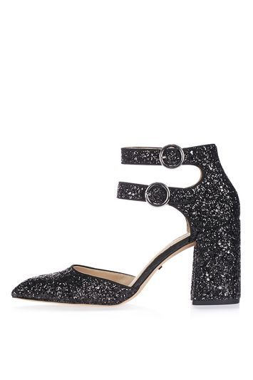 Gorgeous Glitter Shoes - predominant colour: black; occasions: evening, occasion; material: faux leather; heel height: high; embellishment: glitter; ankle detail: ankle strap; heel: block; toe: pointed toe; style: courts; finish: metallic; pattern: plain; trends: pretty girl; season: a/w 2016; wardrobe: event