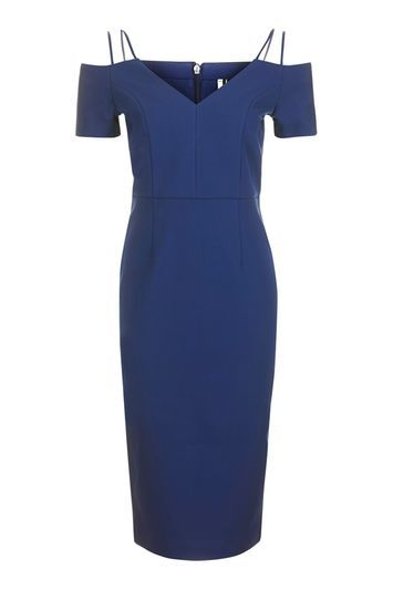 Cold Shoulder Midi Dress - style: shift; length: below the knee; neckline: low v-neck; fit: tailored/fitted; pattern: plain; predominant colour: navy; occasions: evening; fibres: polyester/polyamide - 100%; shoulder detail: cut out shoulder; sleeve length: short sleeve; sleeve style: standard; texture group: crepes; pattern type: fabric; trends: chic girl, glossy girl; season: a/w 2016; wardrobe: event