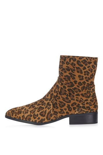 Klash Leopard Sock Boot - predominant colour: tan; secondary colour: black; occasions: casual, creative work; material: suede; heel height: mid; heel: block; toe: round toe; boot length: ankle boot; style: standard; finish: plain; pattern: animal print; season: a/w 2016; wardrobe: highlight