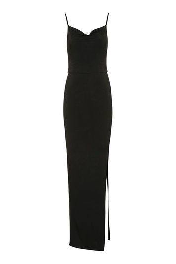 Slinky Cowl Maxi Dress By Oh My Love - neckline: cowl/draped neck; sleeve style: spaghetti straps; pattern: plain; style: maxi dress; length: ankle length; predominant colour: black; occasions: evening; fit: body skimming; fibres: polyester/polyamide - stretch; hip detail: slits at hip; sleeve length: sleeveless; pattern type: fabric; texture group: jersey - stretchy/drapey; season: a/w 2016