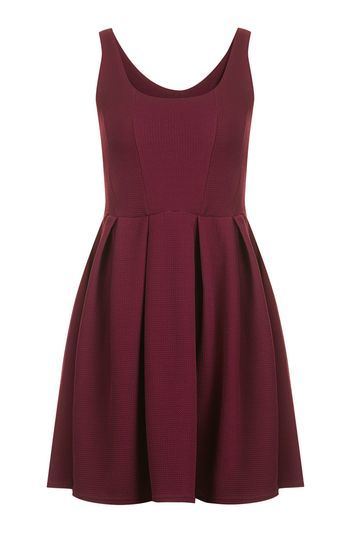 Textured Skater Dress By Oh My Love - pattern: plain; sleeve style: sleeveless; predominant colour: burgundy; occasions: evening; length: just above the knee; fit: fitted at waist & bust; style: fit & flare; neckline: scoop; fibres: polyester/polyamide - stretch; sleeve length: sleeveless; pattern type: fabric; texture group: jersey - stretchy/drapey; season: a/w 2016; wardrobe: event