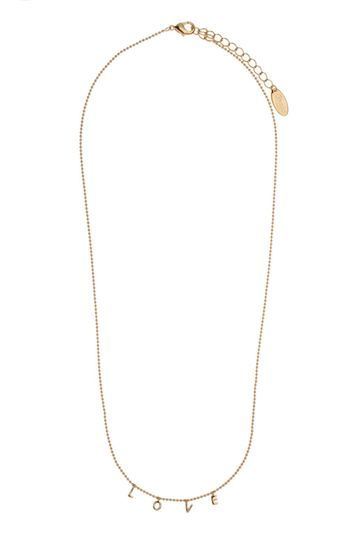 Love Charm Script Necklace By Orelia - predominant colour: gold; occasions: evening, creative work; style: pendant; length: short; size: small/fine; material: chain/metal; finish: metallic; wardrobe: basic; season: a/w 2016
