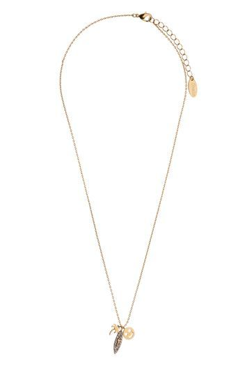 Smiley Happy Charm Necklace - predominant colour: gold; occasions: evening, creative work; style: pendant; length: short; size: small/fine; material: chain/metal; finish: metallic; wardrobe: basic; season: a/w 2016