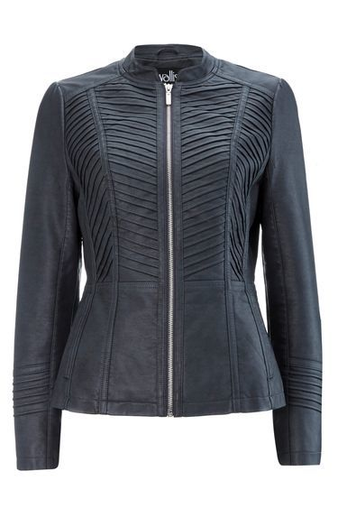 Dark Grey Gothic Biker Jacket - pattern: plain; style: single breasted blazer; collar: round collar/collarless; predominant colour: black; occasions: casual, creative work; length: standard; fit: tailored/fitted; sleeve length: long sleeve; sleeve style: standard; texture group: leather; collar break: medium; pattern type: fabric; fibres: pvc/polyurethene - 100%; season: s/s 2016; wardrobe: basic