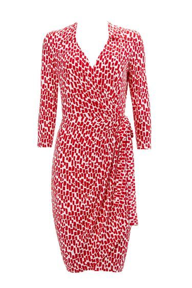 Red Geometric 3/4 Sleeve Wrap Dress - style: faux wrap/wrap; length: mid thigh; neckline: low v-neck; waist detail: belted waist/tie at waist/drawstring; secondary colour: white; predominant colour: true red; fit: body skimming; fibres: polyester/polyamide - stretch; sleeve length: 3/4 length; sleeve style: standard; texture group: jersey - clingy; pattern type: fabric; pattern size: standard; pattern: animal print; occasions: creative work; season: a/w 2016